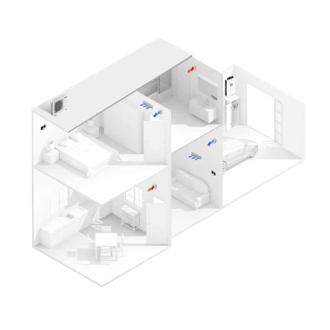 Sistema Integral con fancoils en ambas zonas con 2 zonas
