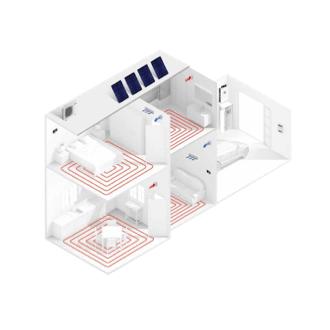 Sistema integral sueloradiante y Fancoils en ambas zonas instalación fotovoltaica