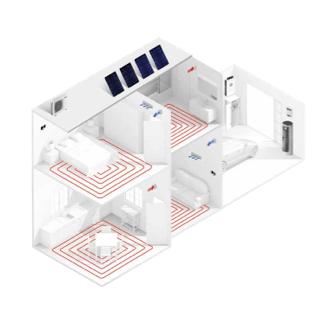 Sistema Integral con suelo Radiante y fancoils en ambas zonas instalación fotovoltaica y energía térmica